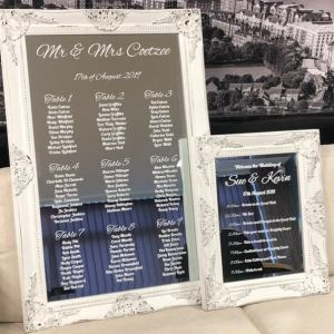 White Table Plan & order of the day Sign