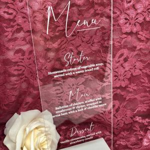 A Clear Acrylic Skinny Menu is a lovely way to let you guests know what they will be dinning on.