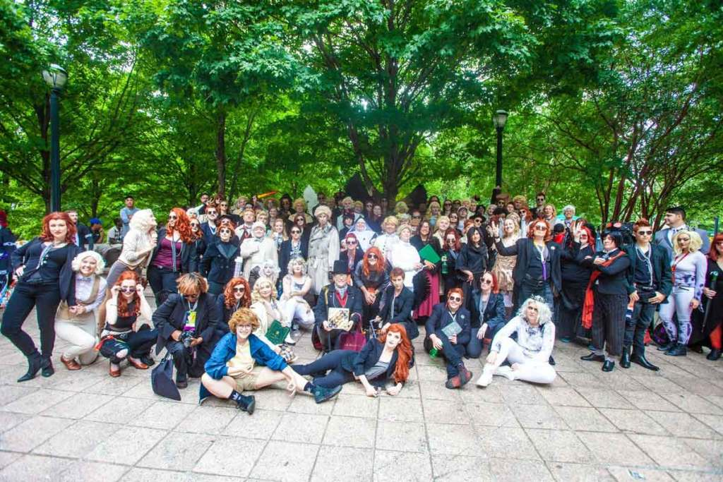 large group shot of a number of Good Omens costumers