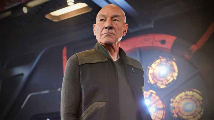 Patrick Stewart as Jean luc Picard on a science fiction set