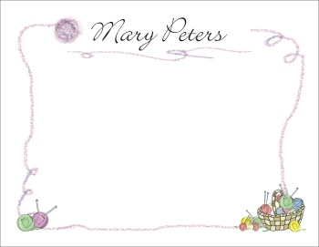 Knitting Theme Stationery & Thank You Cards by The