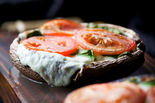 Breadless Margherita Pizza on a Portobello
