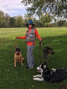 Michelle and dogs at park