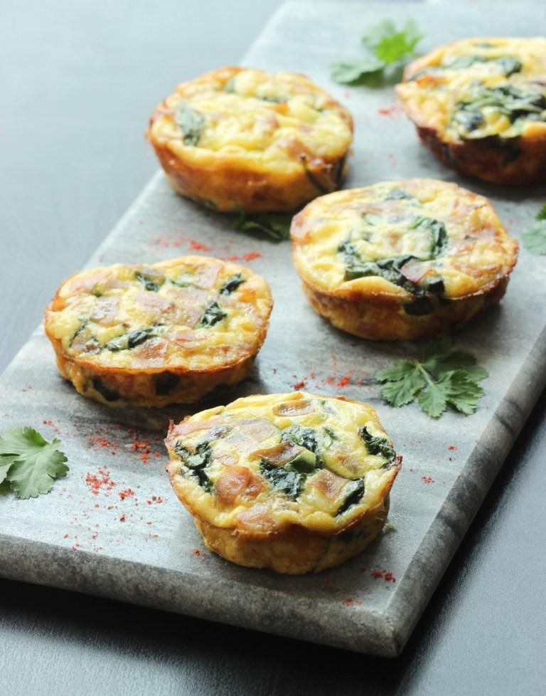 parma ham and spinach mini frittata