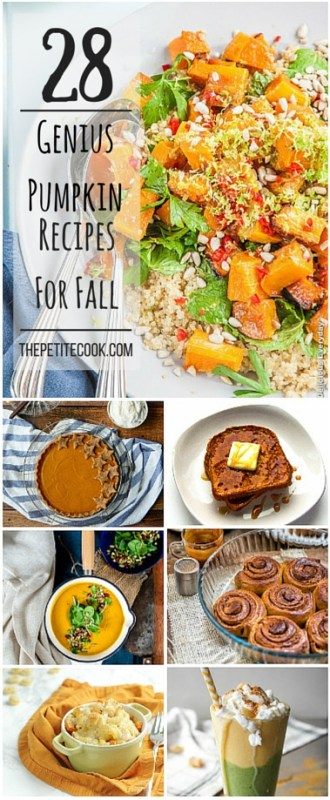 28 Genius Pumpkin Recipes For Fall - Celebrate the new season with the BEST pumpkin recipes! Loads of gluten-free, dairy-free, vegan and vegetarian options included - See more at thepetitecook.com
