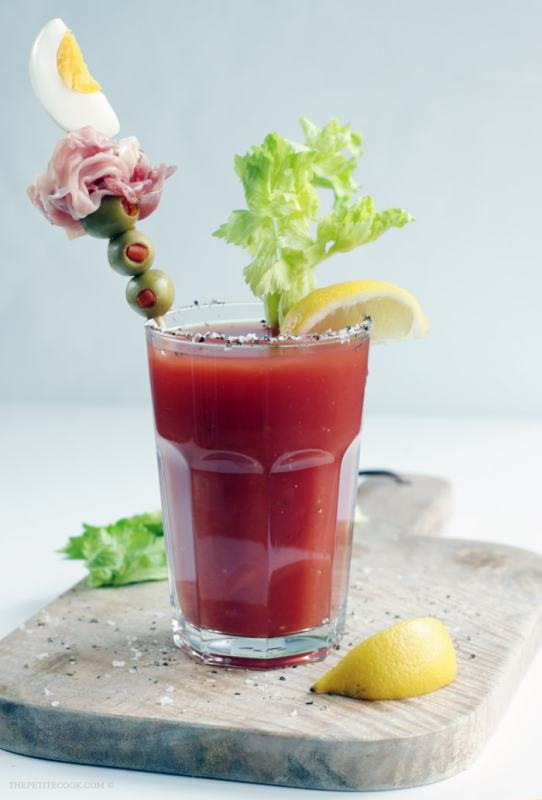 Spicy and perfectly seasoned, refreshingly delicious and packed with veggies goodness, if you're gonna have one drink let Bloody Mary be it. That's all you need to cheer you up! Recipe by The Petite Cook