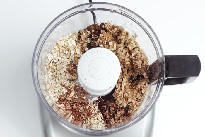 Chokladbollar, swedish Chocolate Balls preparation, ingredients in bowl of food processor