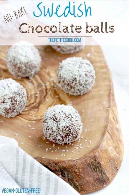 Chokladbollar: Swedish Chocolate Balls on wood board, image optimized for Pinterest