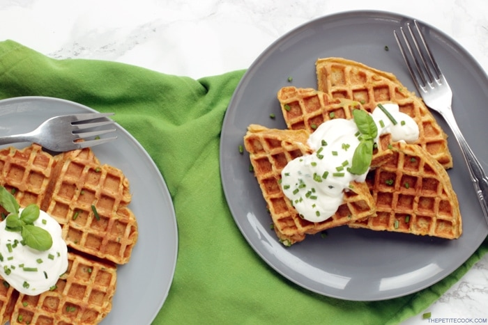 Healthy Sweet potato Waffles - Made with less than 10 ingredients and ready in just 15 mins! These tasty bites make a fantastic , balanced breakfast or a scrumptious starter! Recipe from thepetitecook.com