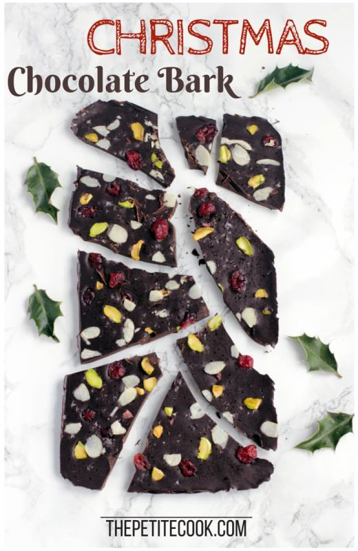 Christmas chocolate bark cut into pieces, image optimized for Pinterest