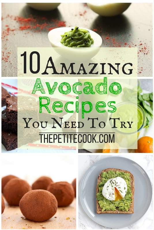 10 Amazing Recipes With Avocado - From chocolate truffles to fudgy melt-in-your-mouth brownies, here are some fun new ways to enjoy the healthy benefits of avocados! thepetitecook.com