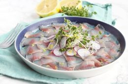This salt & vinegar mackerel carpaccio requires very little effort and delivers a fantastic starter for an elegant dinner. Perfect to celebrate St David's day and any other special occasion! recipe from thepetitecook.com