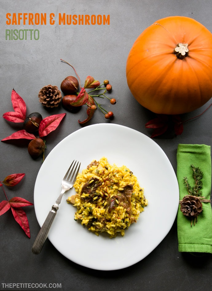 Creamy, luxurious but incredibly easy to make, this Saffron and Mushroom Risotto is italian comfort food at its finest. Recipe from thepetitecook.com