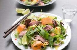 Bursting with flavors, this gluten-freeAsian Beef Salad is ready in just 15 min and loaded with protein-rich beef, healthyveggies and fresh herbs - The perfect balanced meal to enjoy on a busy day! Recipe from The Petite Cook