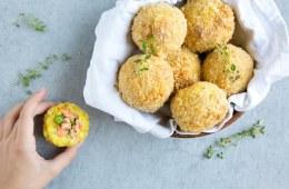 salmon and pea baked arancini rice balls