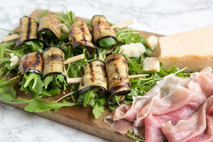Eggplant Roll-ups with Grana Padano Cheese and Prosciutto di San Daniele