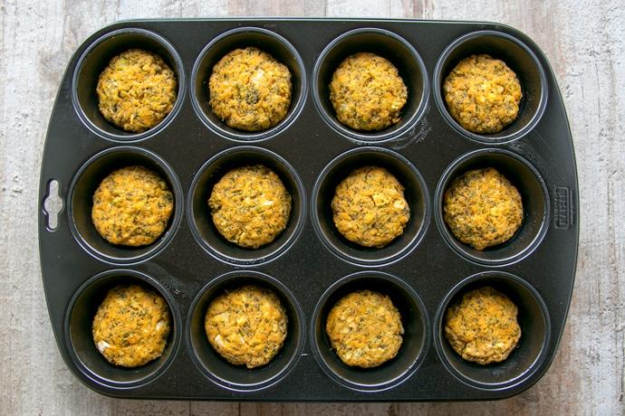 veggie sweet potato fritters in a muffin tin