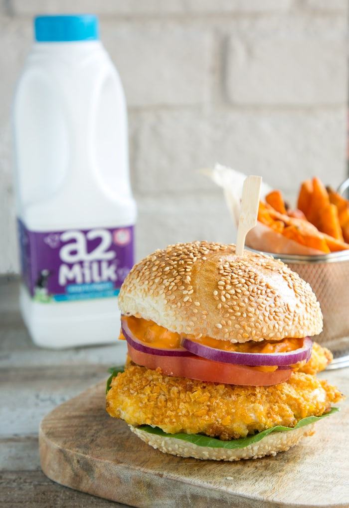 buttermilk oven fried burger with spicy mayo with sweet potato fries and a2 milk bottle in background