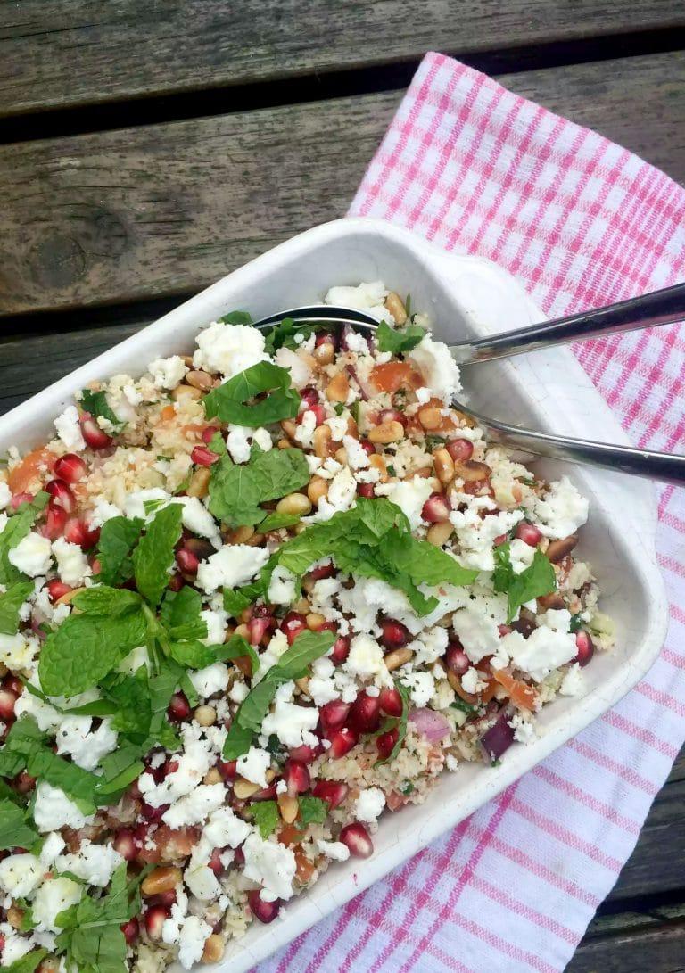 cauliflower rice tabbouleh in serving bowl