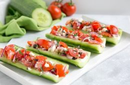 cucumber boats with greek salad filling