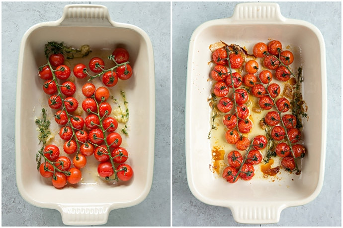 cherry tomato confit in baking dish, before and after baking