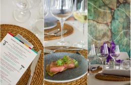 menu primmmavera festival on the left, tuna toast dish on restaurant table in the center, and restaurant table setting on the right