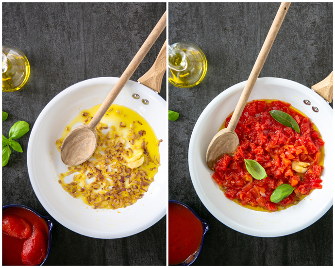 italian tomato sauce cooking process, collage of step 1 and step 2: image of white pan with stir-fried onion and garlic in olive oil, next to image of white pan with stir-fried onion, garlic, chopped tomatoes, basil leaves and bay leaf.