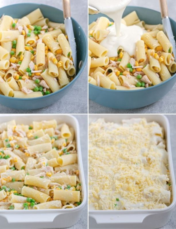recipe method step 2, put together the tuna pasta bake: collage of 4 images shows pasta mixed with tuna, sweetcorn and peas in the first image, white sauce added into the pasta mix in the second image, prepared pasta transferred in a baking dish in the thrid image, pasta topped with cheese and remaining white sauce in the fourth image.