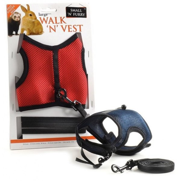 Small '' Furry Walk Vest Harness & Lead Set Large