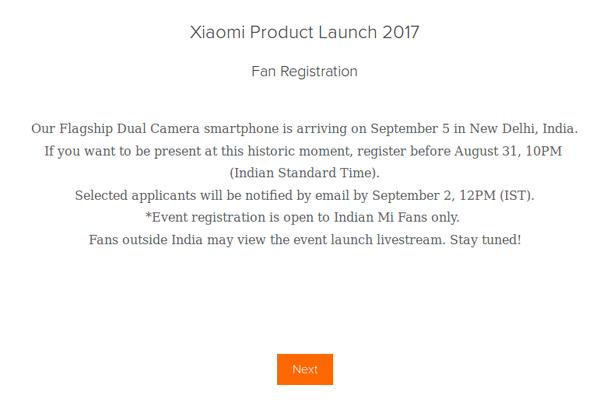 Xiaomi Mi 5X release in India