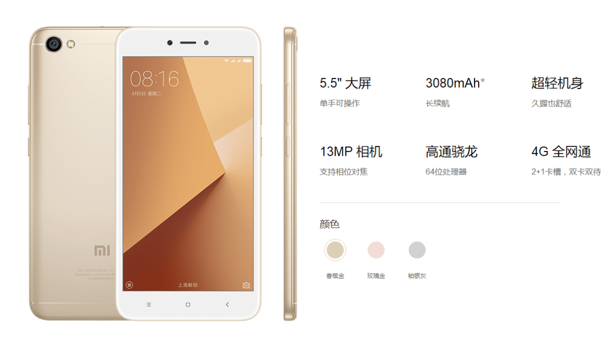Xiaomi Redmi Note 5A highlights