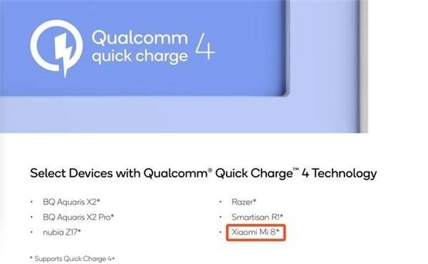 Xiaomi Mi 8 Quick Charge 4.0+ technology leaked
