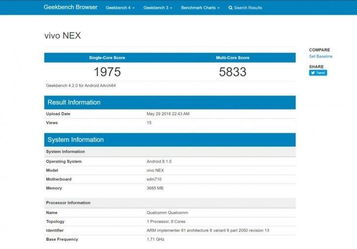 Vivo NEX Geekbench Score Laked