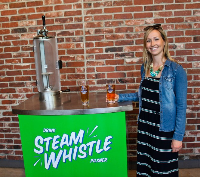 The pink backpack Toronto tourism - Steam whistle brewery