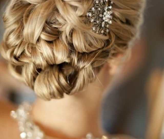 Gathered Waves In A Collection Of Curls For Bridal Updo The Pink Bride Www