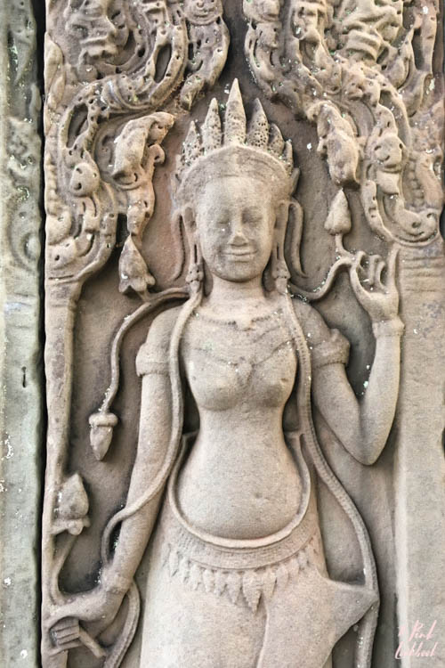 Angkor Wat Bayon Goddess Carving Detail