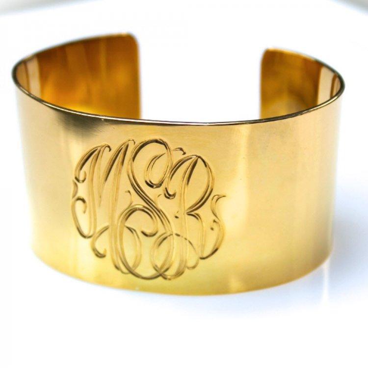 monogrammed bracelet cuff