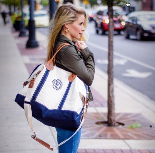 monogrammed weekender tote bag in 13 colors