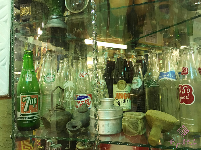A collection of soda bottles.