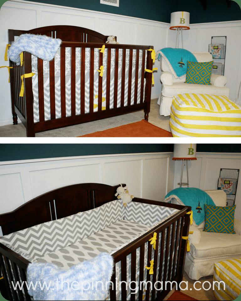 Nursery, baby boy, neutral, blue, board and batten, DIY