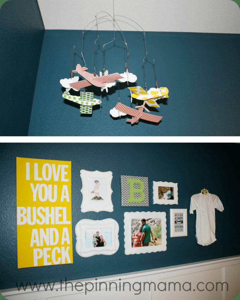 Neutral nursery, boy nursery, blue, gallery wall