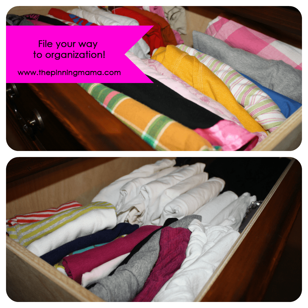 Organize Drawers by Filing Your Clothes by www.thepinningmama.com