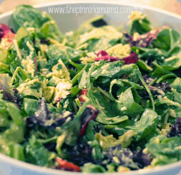 Green Salad with Creamy Avocado Dressing by www.thepinningmama.com