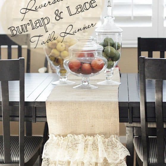 Easy Reversible Burlap and Lace Table Runner by www.thepinningmama.com