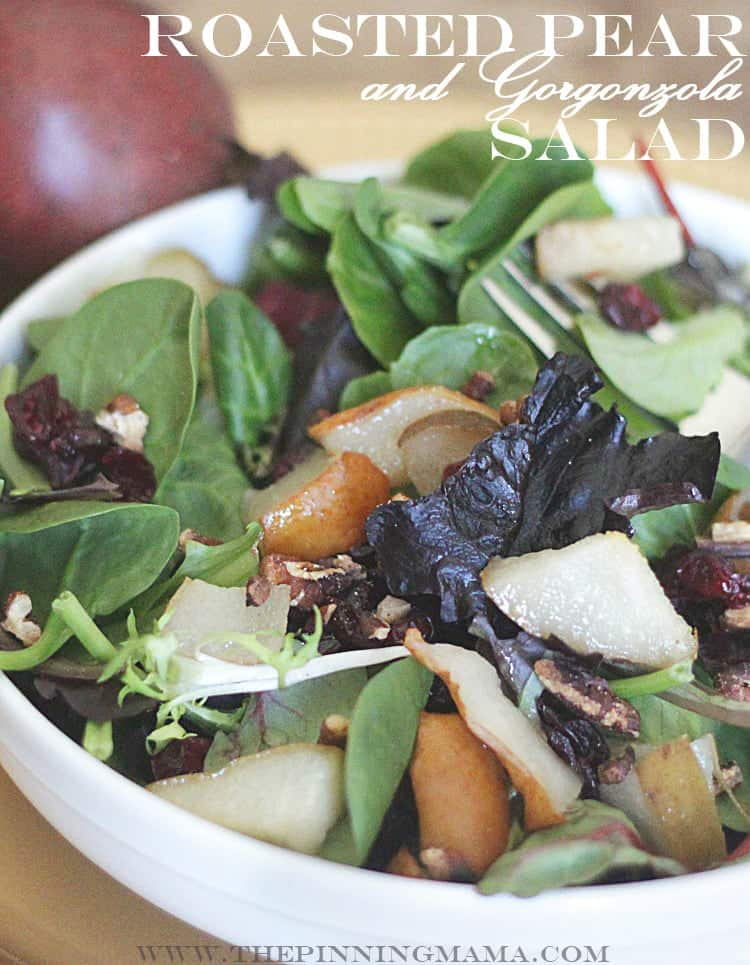 Pear and Gorgonzola Salad recipe via The Pinning Mama