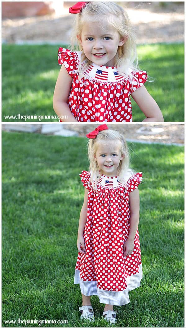 Adorable smocked flag patriotic Dress for 4th of July.