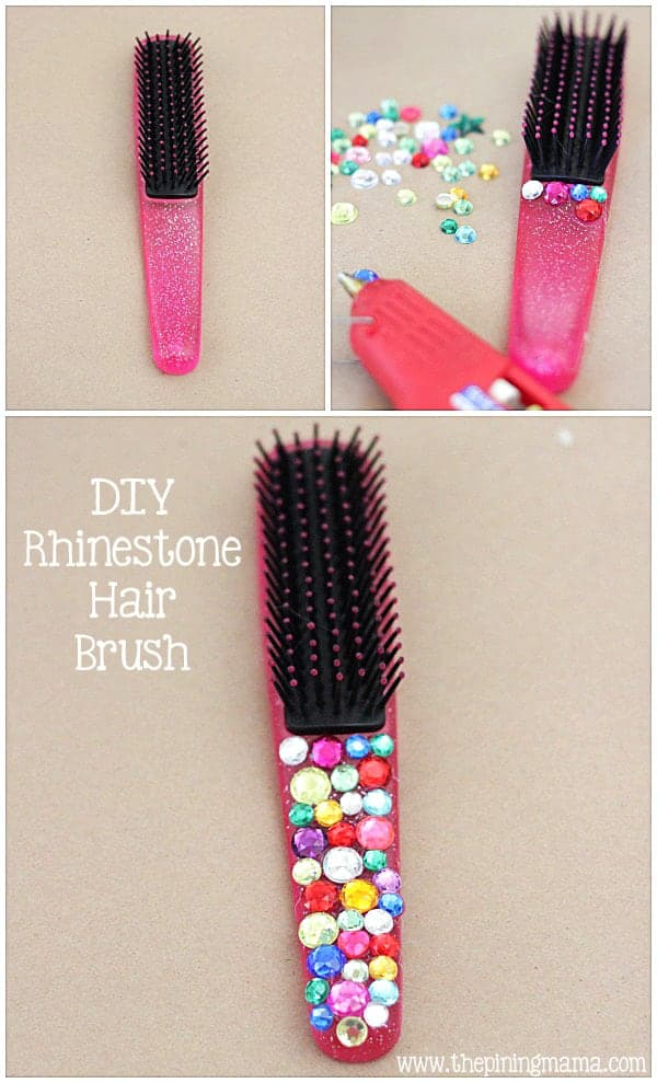 DIY Rhinestone hair brush plus 12 other easy rhinestone projects!