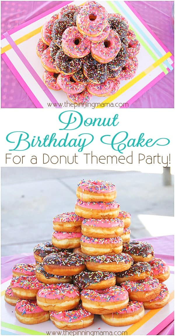 Donut Birthday Cake- What a fun and simple theme for a kid's birthday party!