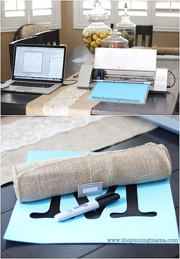 All you need to make a quick and easy monogrammed table runner is a stencil, a runner and a sharpie! Love it!