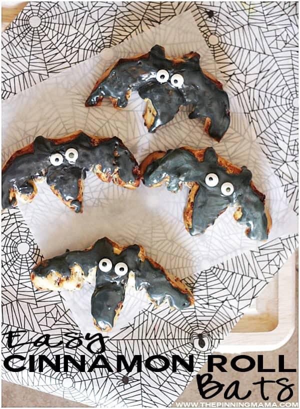 Cinnamon Roll Bats - Easy Halloween Breakfast idea!